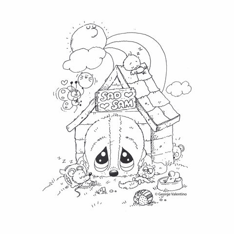 Dog House Coloring Book Page