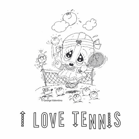 I Love Tennis Coloring Book Page