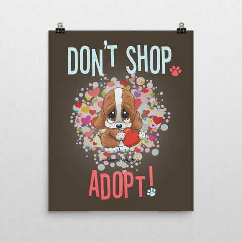 Don't Shop, Adopt! (Hearts) Poster 16x20