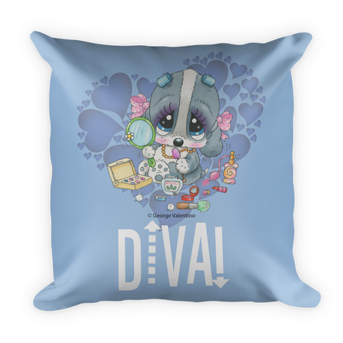 Diva! (Blue) Pillow