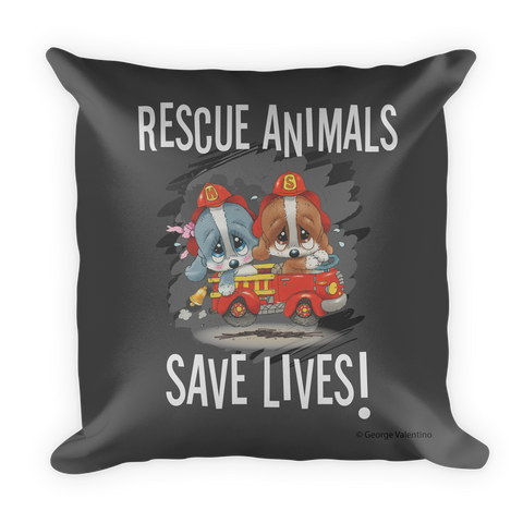 Rescue Animals Save Lives (Grey) Pillow