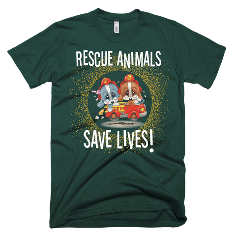 Rescue Animals Save Lives (Green) T-Shirt