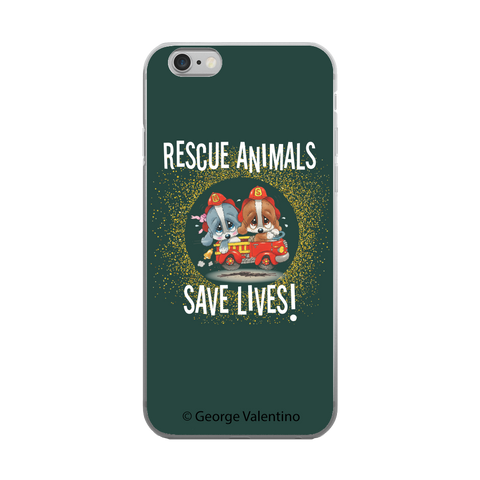 Rescue Animals Save Lives (Green) Phone Case