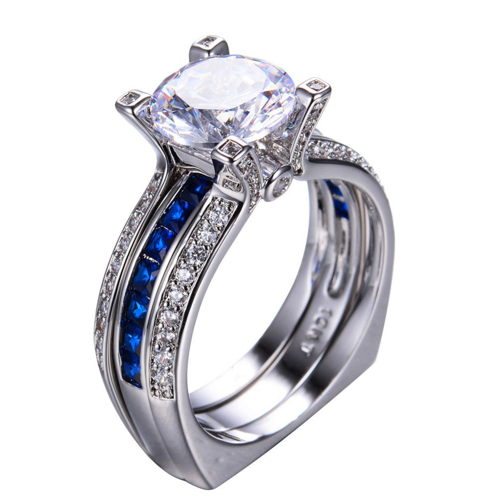 blue sapphire crystal vintage wedding ring set - Vintage Wedding Rings Sets