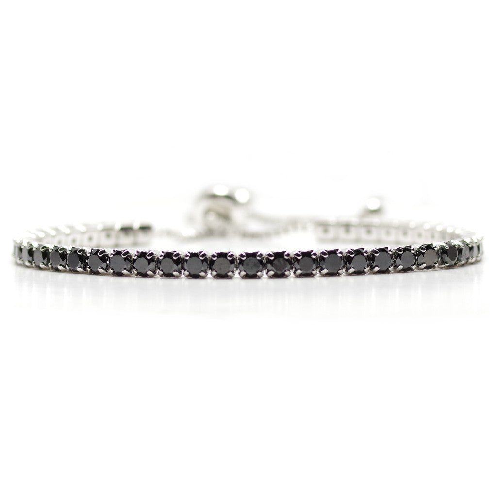 Lavish Black Diamante Adjustable Bracelet