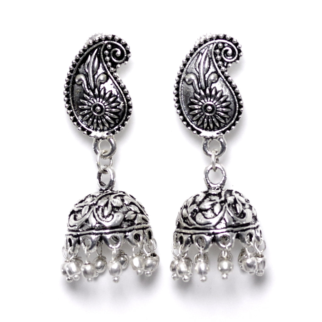 Kundali Silver Jhumka Earrings