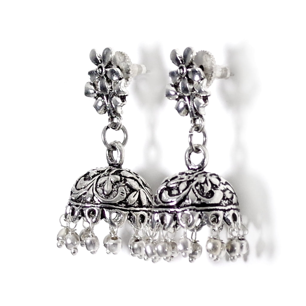 Phool Silver Jhumka Earrings