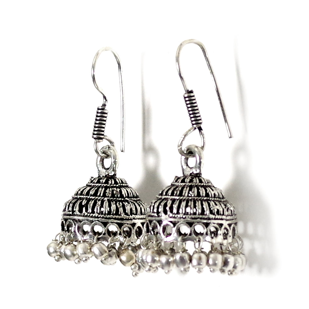 Navya Silver Jhumka Earrings