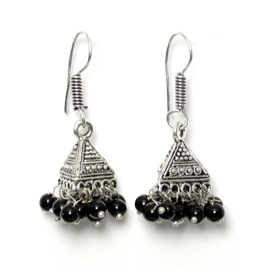 Tara Black Jhumka Earrings