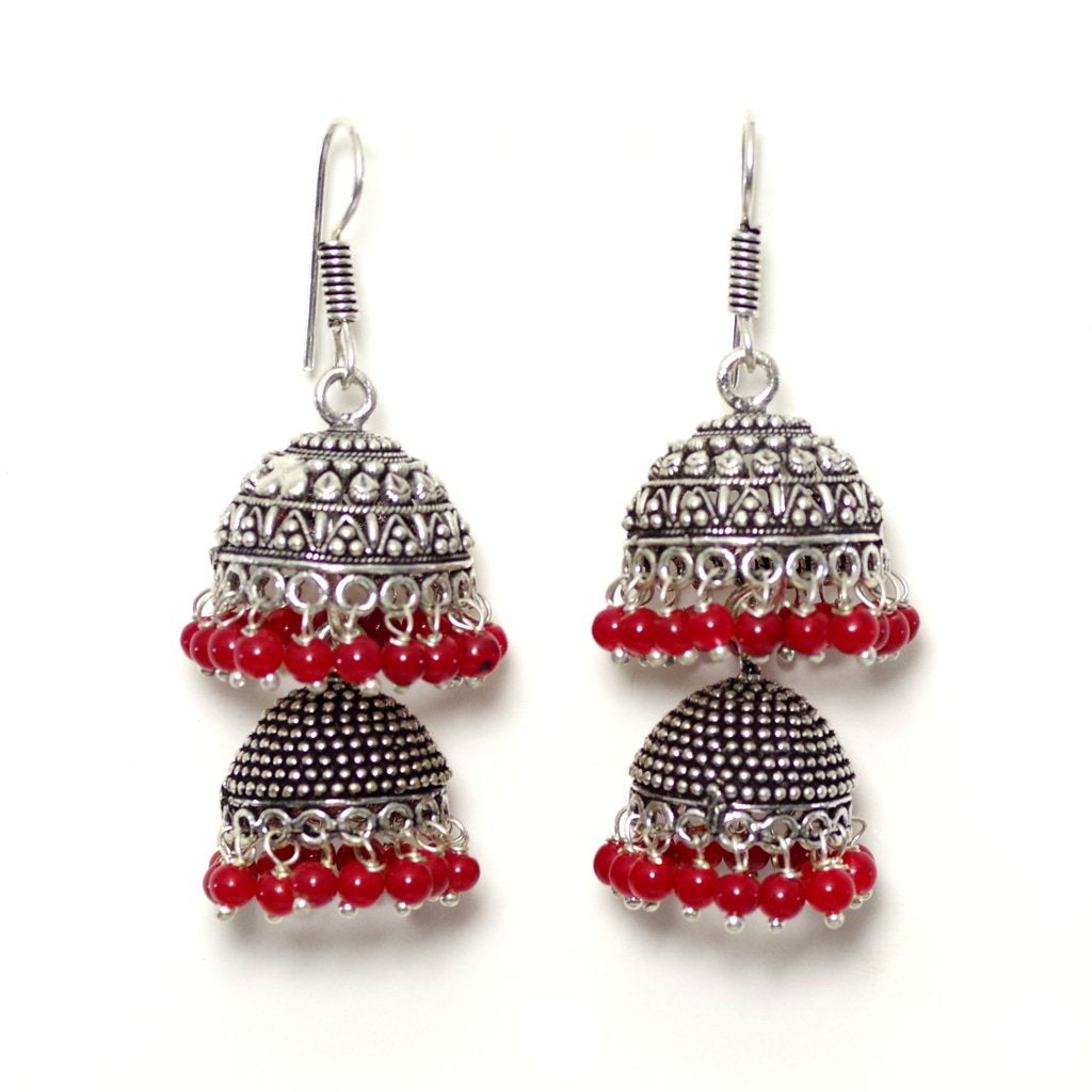 Tanya Red Jhumka Earrings