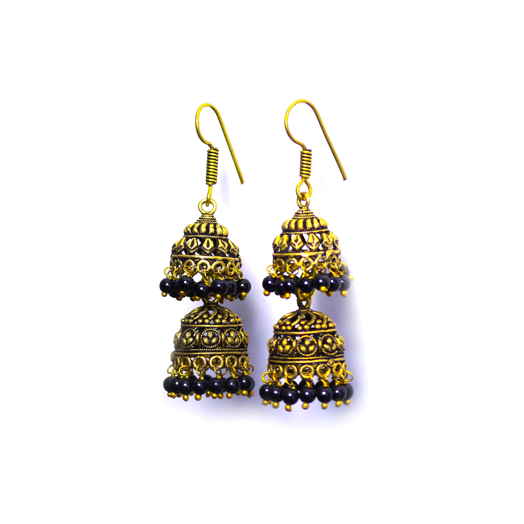 Himani Black Jhumka Earrings