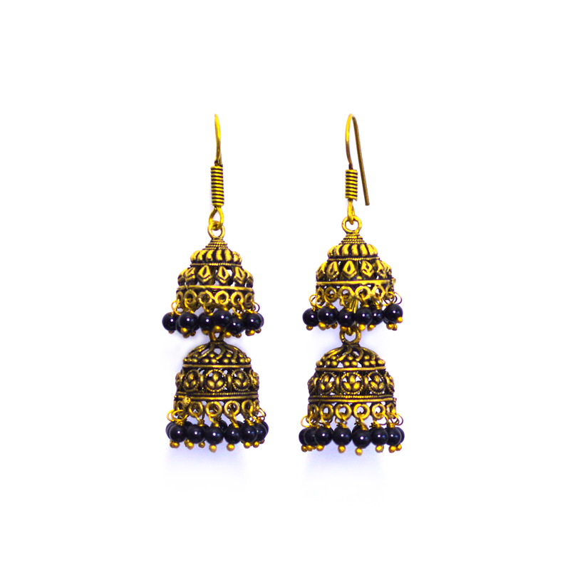 Himani Black Jhumka Earrings - SATORI ACCESSORIES