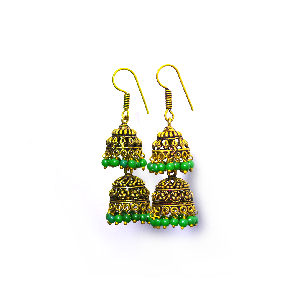 Himani Green Jhumka Earrings