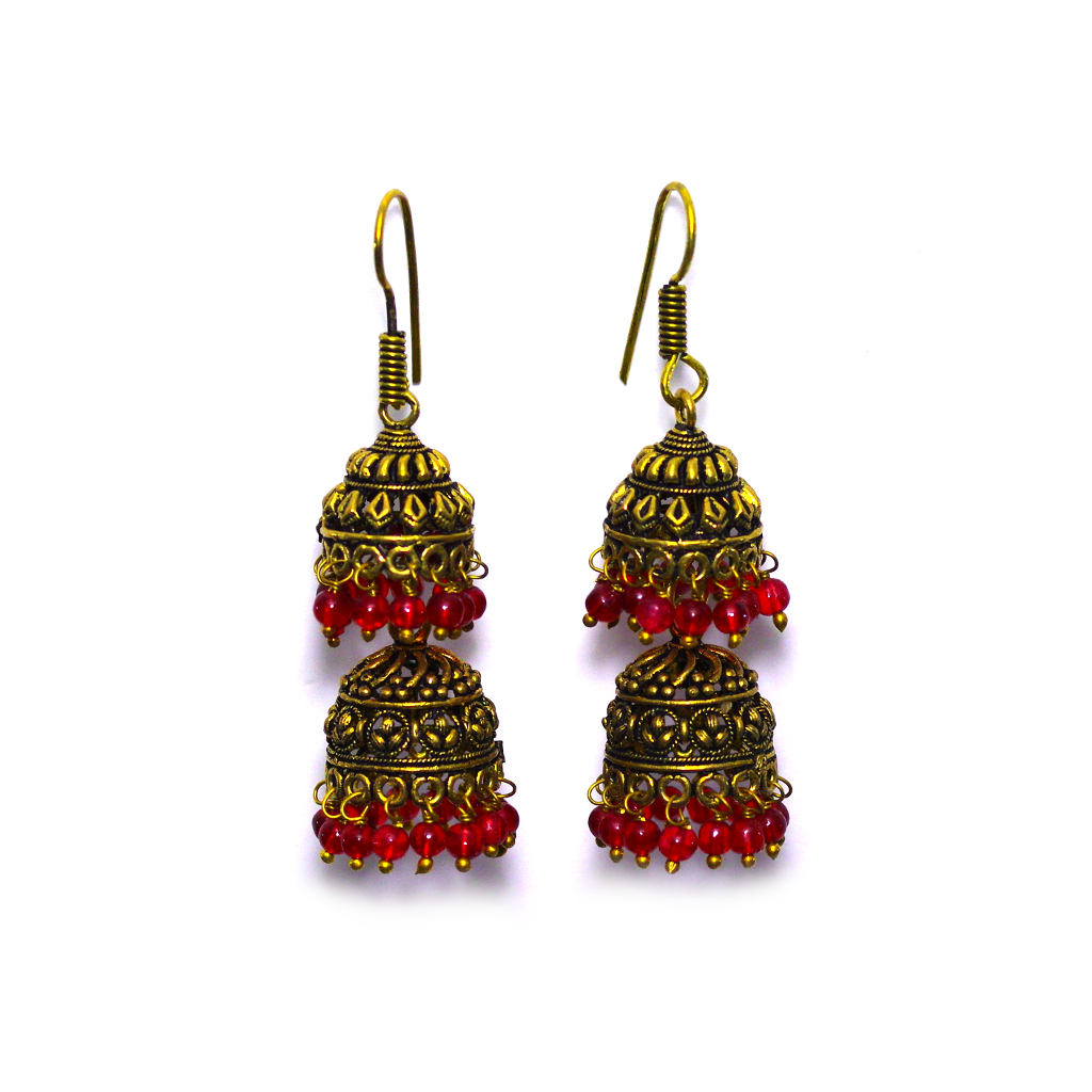 Himani Red Jhumka Earrings