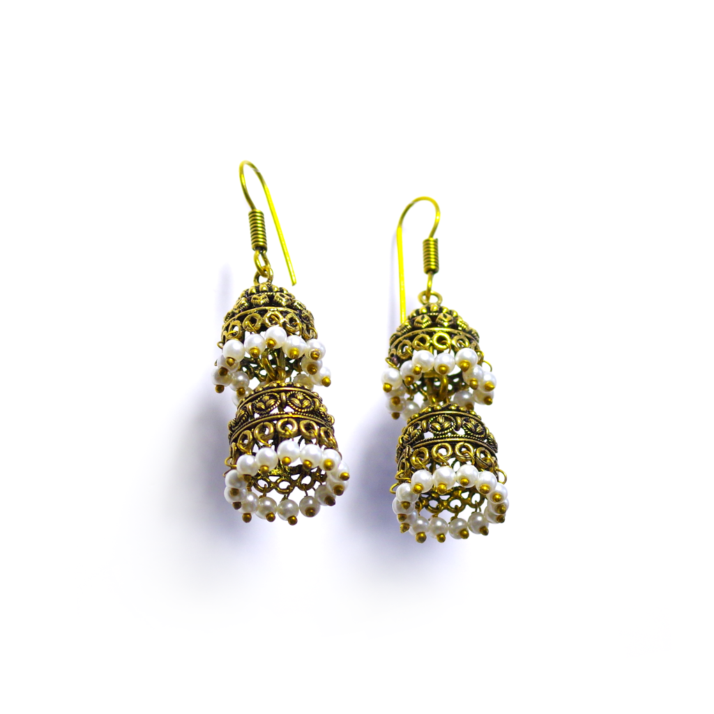 Himani White Jhumka Earrings