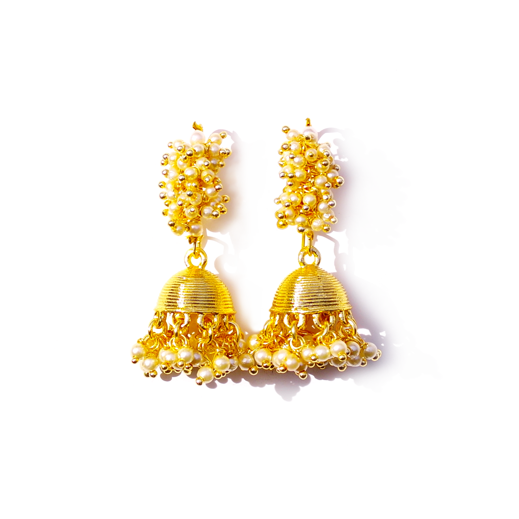 Gold Plated Jhumka Beaded Earrings - SATORI ACCESSORIES