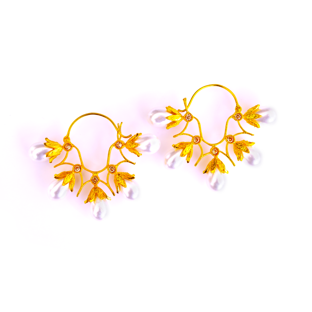 Baroque Champagne Statement Earrings