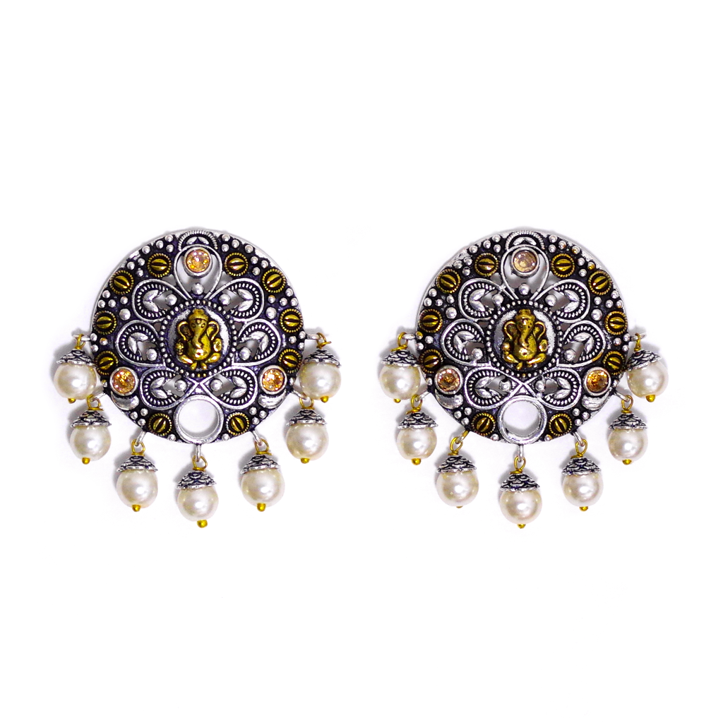 Ganesh Jhumka Statement Earrings - SATORI ACCESSORIES