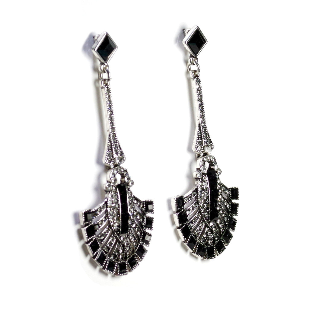 Art Deco Black Earrings