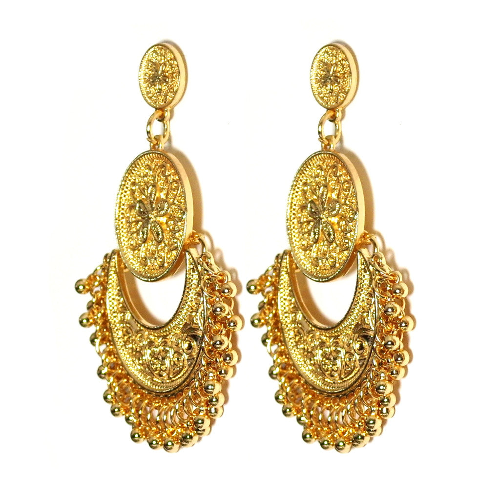 Indian Gold Tassel Earrings