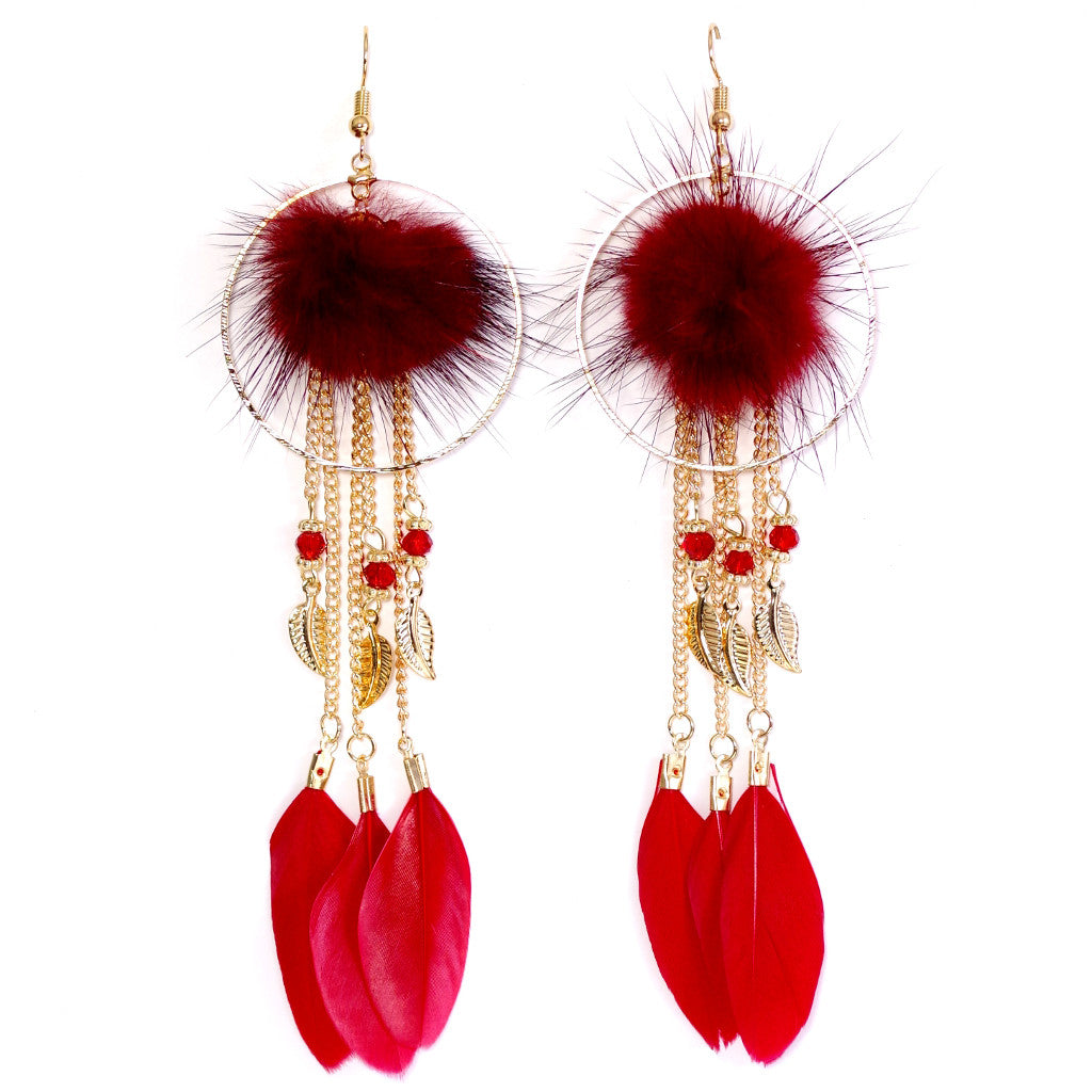Festive Red Feather Earrings
