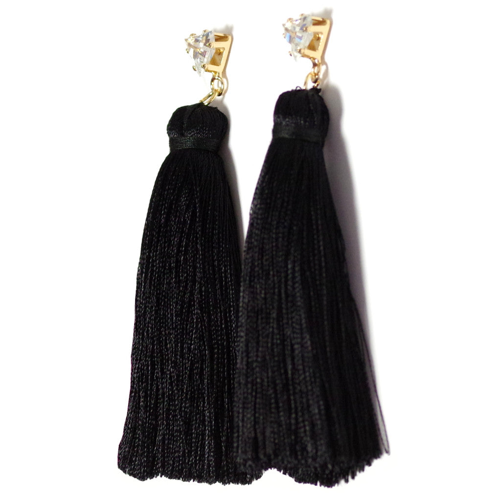 Tassel Black Earrings