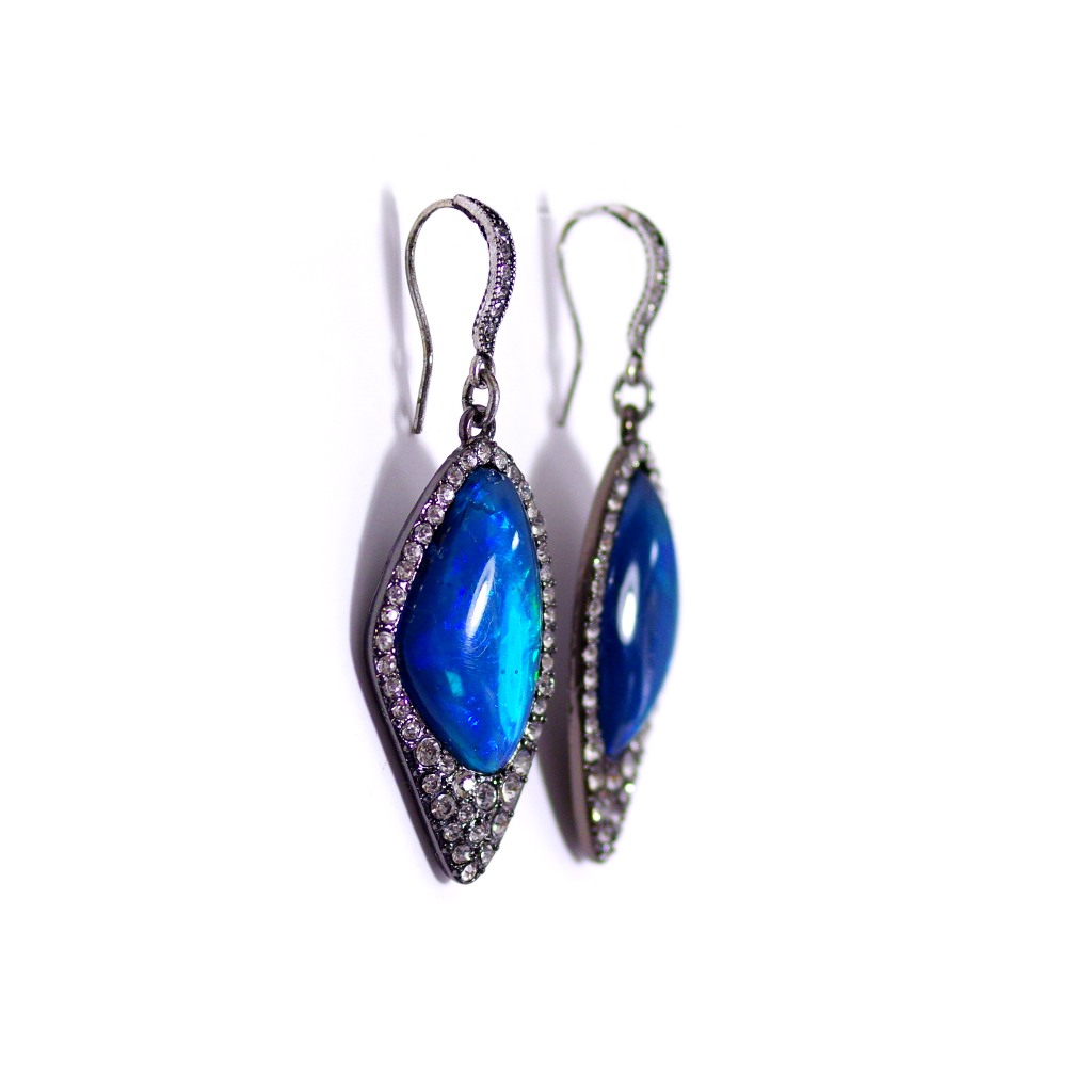 Electric Blue & Green Earrings