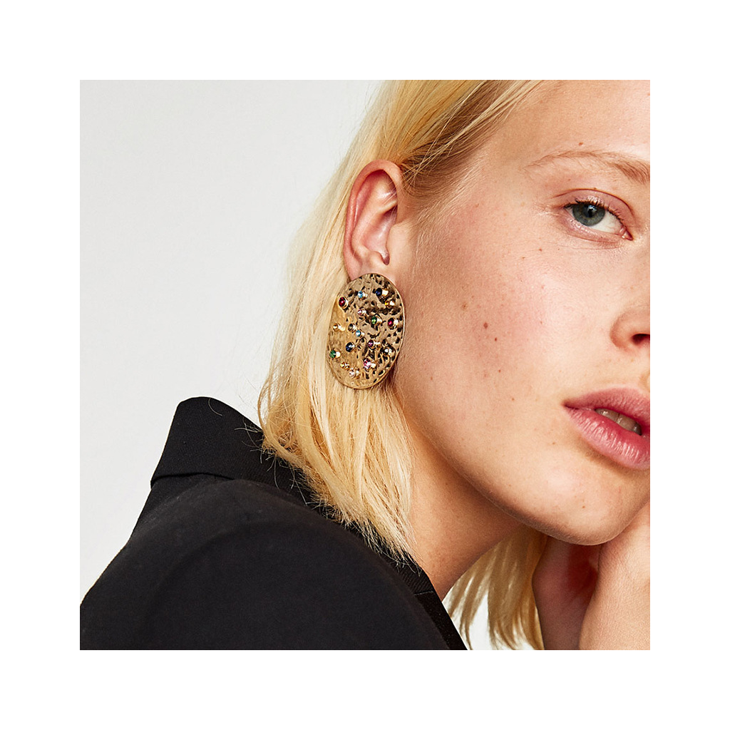 Tribal Disc Gold Earrings
