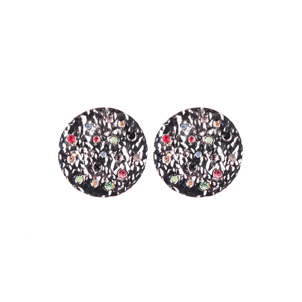 Tribal Disc Silver Earrings