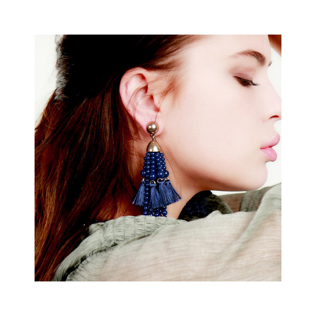 Beaded Blue Tassel Earrings