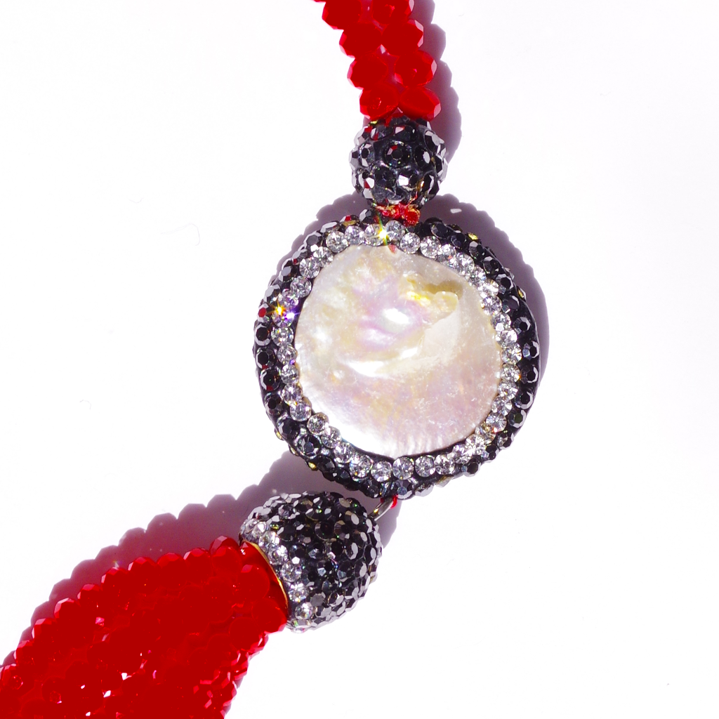 Swarovski & Mother Of Pearl Red Necklace