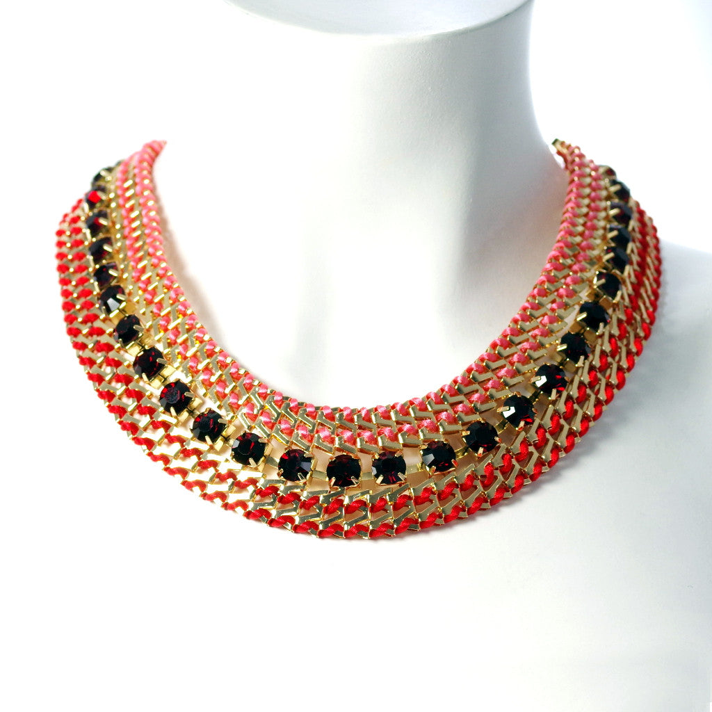 Chevron Red & Pink Necklace