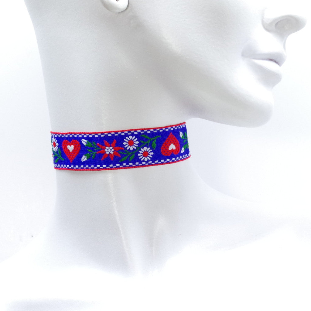 Embroidery Blue Choker