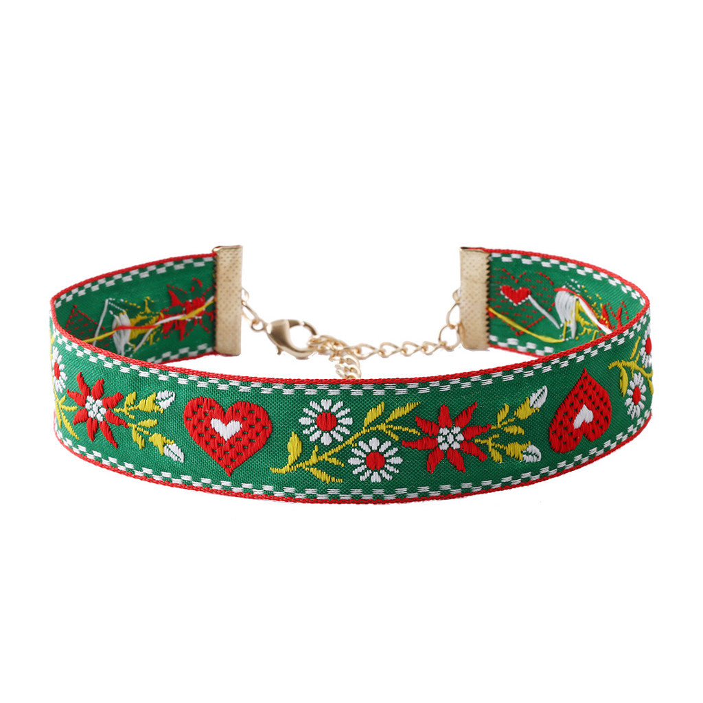 Embroidery Green Choker