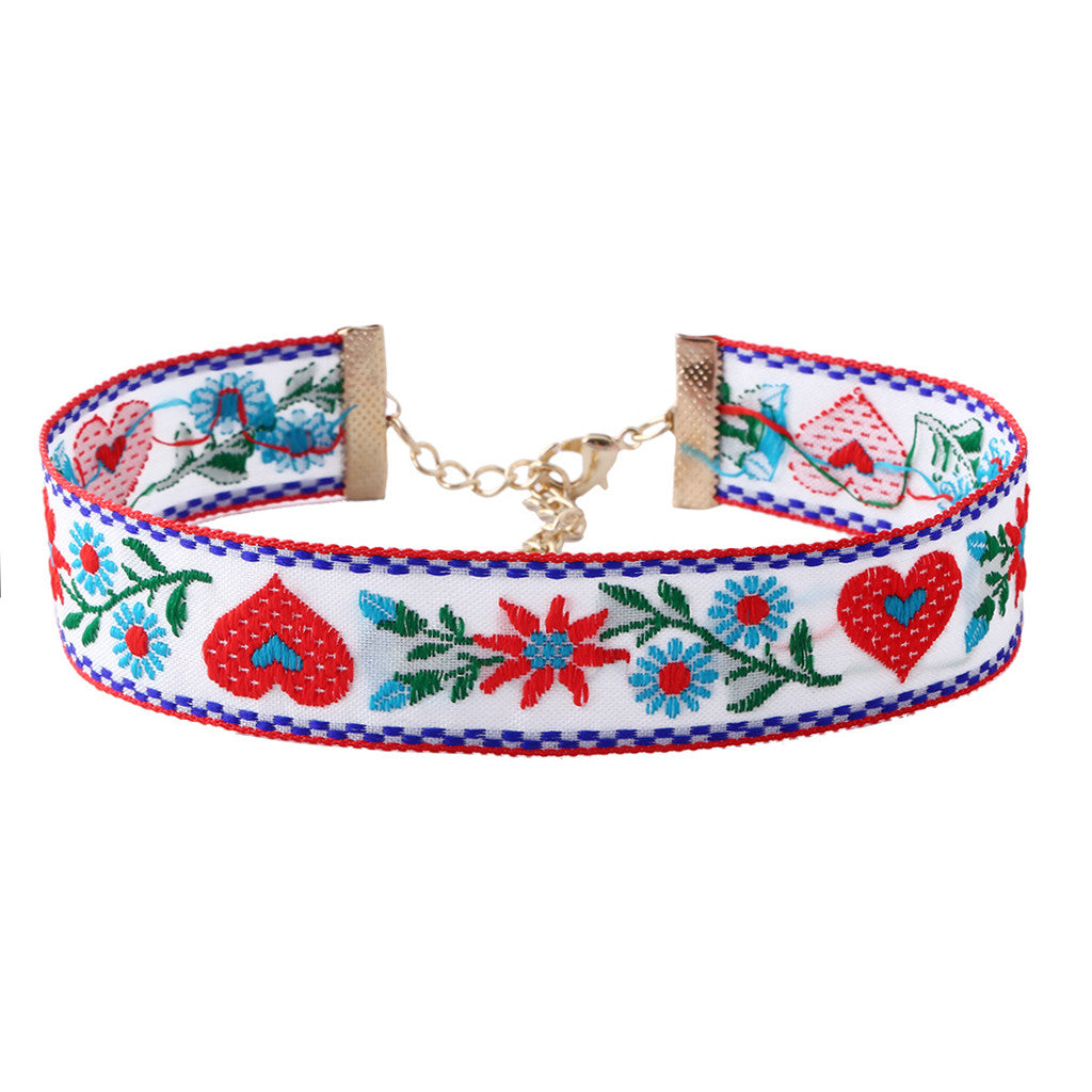 Embroidery White Choker