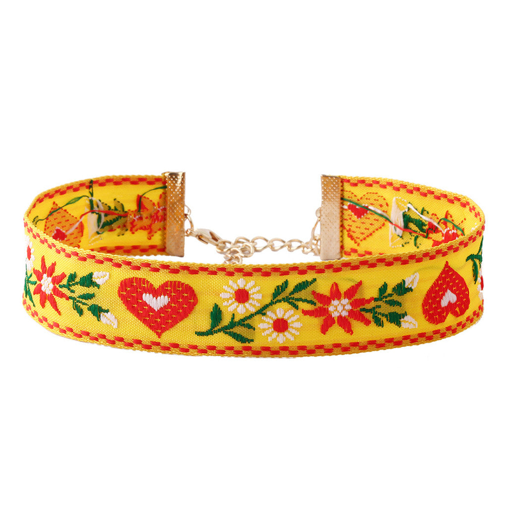 Embroidery Yellow Choker