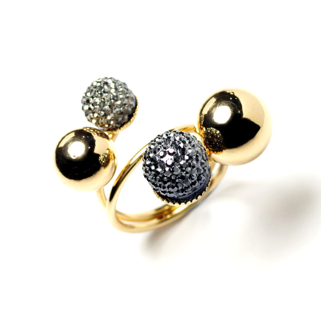 Spherical Cluster Gold Ring