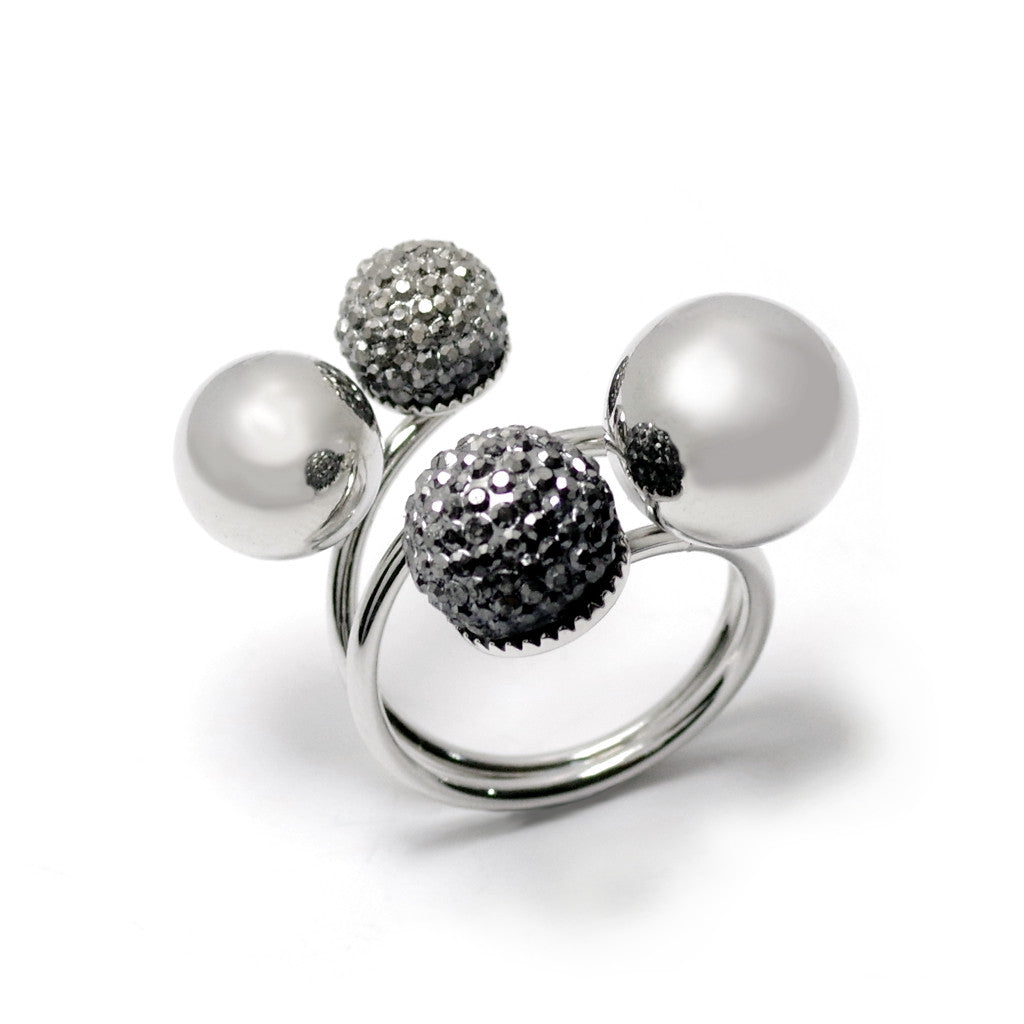 Spherical Cluster Silver Ring