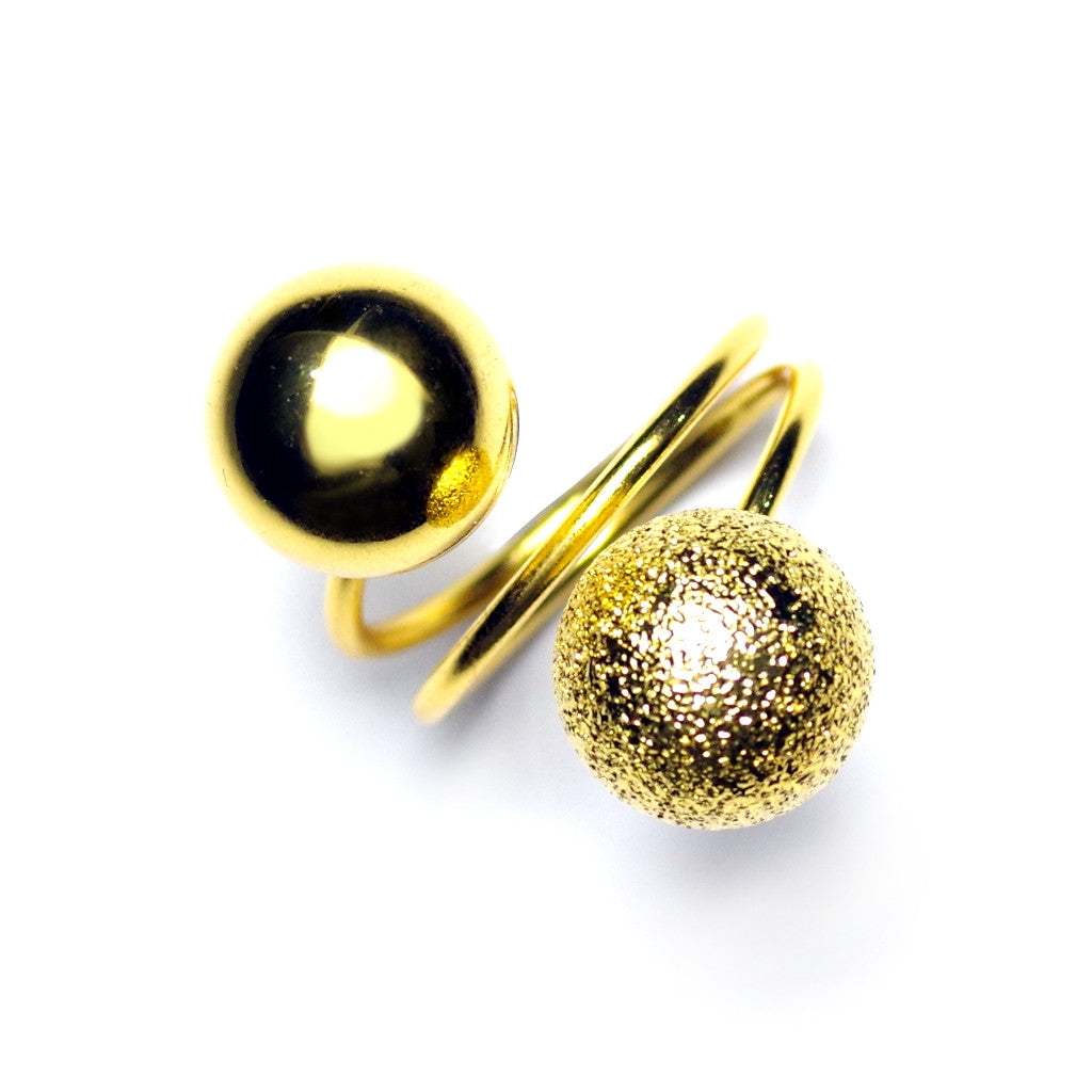 Binal Sphere Gold Ring