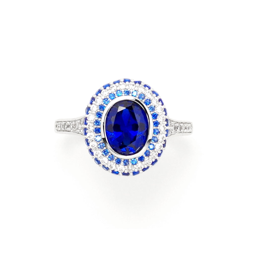 Sapphire Blue Silver Elegance Ring