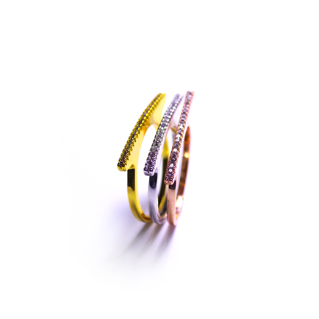 Tri-Linear Silver, Rose Gold & Gold Ring Set