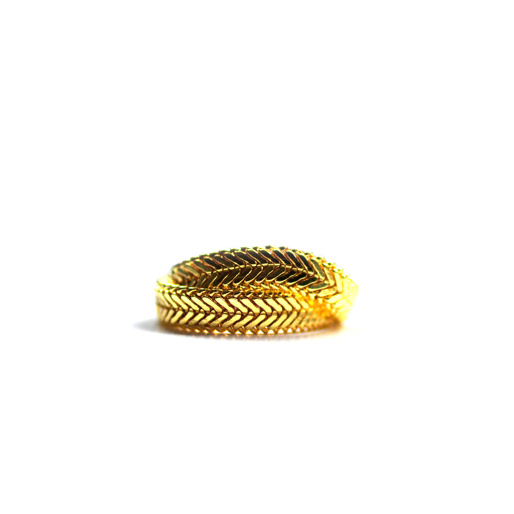 Gold Herringbone Ring