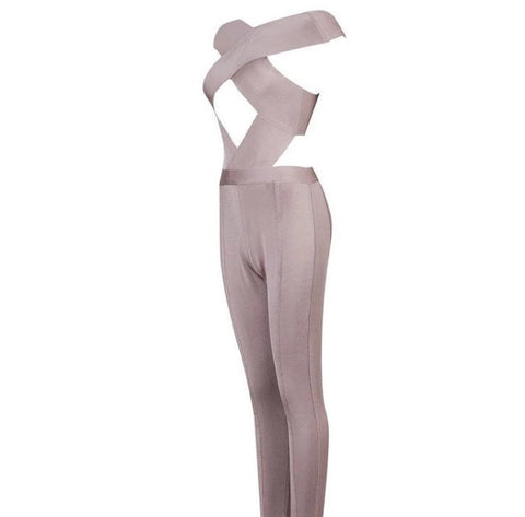 Crossing paths bandage jumpsuit