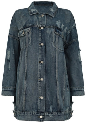 OVER IT distressed oversized jean jacket