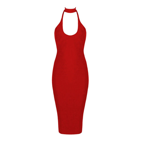 DOWN FOR YOU bandage dress red
