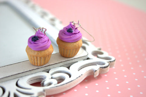 Blackberry vanilla cupcake earrings