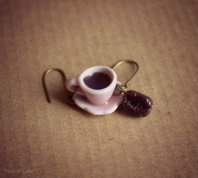 Miniature coffee cup earrings