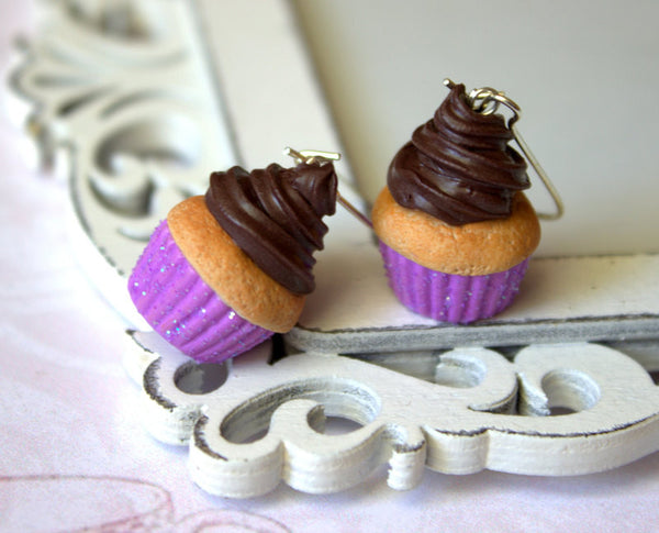 Vanilla chocolate cupcake earrings