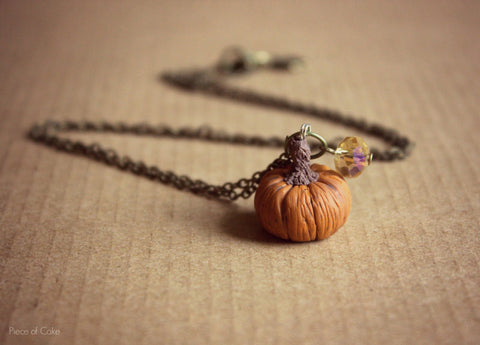 Halloween miniature pumpkin necklace