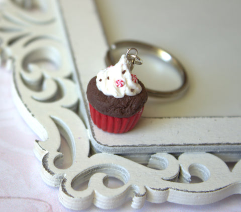 Chocolate peppermint cupcake keychain